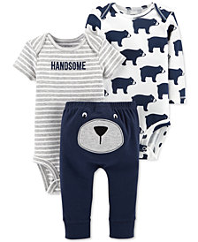 Carter's Baby Boys 3-Pc. Handsome Bear Cotton Bodysuits & Pants Set