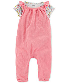 Carter's Baby Girls 2-Pc. Printed T-Shirt & Coverall Set
