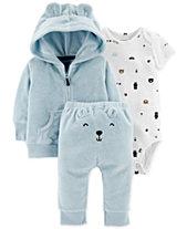 Carter's Baby Boys 3-Pc. Bear Cardigan, Bodysuit & Pants Set