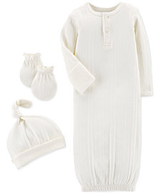 Carter's Baby Boys or Girls 3-Pc. Gown, Hat & Mittens Set