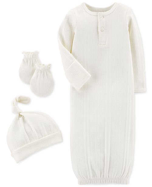 31806674a Carter s Baby Boys or Girls 3-Pc. Gown