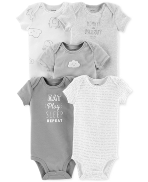 Carters Baby Boys  Baby Girls 5Pk Cotton Bodysuits