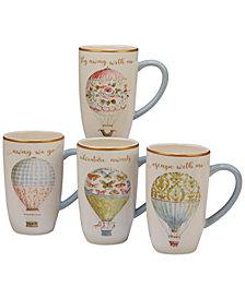 Certified International Beautiful Romance  Balloon Mugs, Set of 4