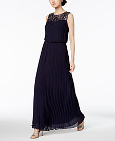 Alex Evenings Embellished Micro-Pleated Blouson Gown