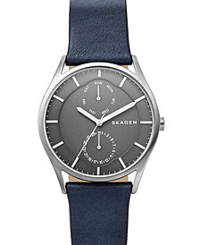 Skagen Men's Holst Blue Leather Strap Watch 40mm