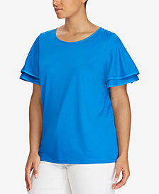 Lauren Ralph Lauren Plus Size Flutter-Sleeve Top
