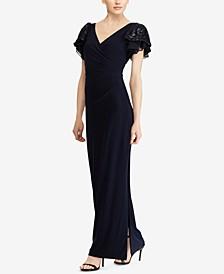 폴로 랄프로렌 원피스 Lauren Ralph Lauren Embellished Flutter-Sleeve Gown, Created for Macys