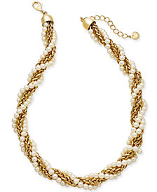 "Charter Club Gold-Tone Imitation Pearl and Chain Twist Collar Necklace, 18"" + 2"" extender, Created for Macy's"
