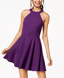 City Studios Juniors' Lace-Detail Fit & Flare Dress