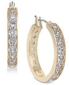 Charter Club Gold-Tone Crystal Hoop Earrings, Created for Macy's