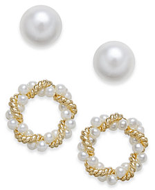 Charter Club Gold-Tone 2-Pc. Set Imitation Pearl & Twisted Wreath Stud Earrings, Created for Macy's