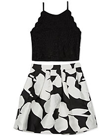 BCX Big Girls 2-Pc. Scalloped Top & Floral-Print Skirt Set