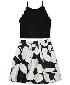 BCX Big Girls 2-Pc. Scalloped Top & Floral-Print Skirt Set