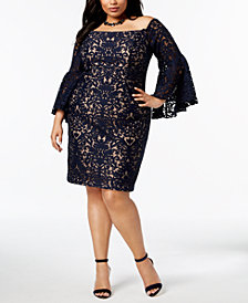 XSCAPE Plus Size Lace Off-The-Shoulder Dress