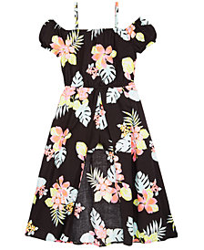 Epic Threads Little Girls Floral-Print Maxi-Overlay Romper, Created for Macy's
