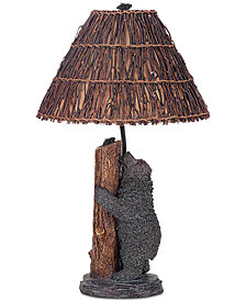 Cal Lighting Resin Bear Honey Bee Table Lamp