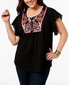 Style & Co Plus Size Cotton Gauze Embroidered Peasant Top, Created for Macy's