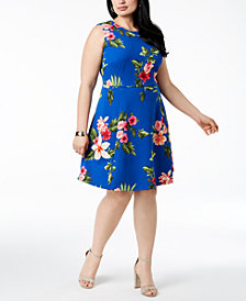 Jessica Howard Plus Size Hawaiian-Print A-Line Dress