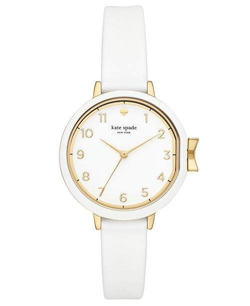kate spade new york Women's Park Row White Silicone Strap Watch 34mm