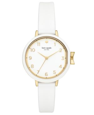 Park Row Silicone Strap Watch, 34Mm in White/ Gold