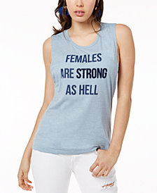 True Vintage Females Are Strong Graphic Cotton Muscle Tank