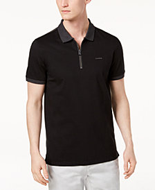 Calvin Klein Men's Contrast Zip-Up Polo