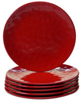 6-Pc. Red Melamine Salad Plate Set