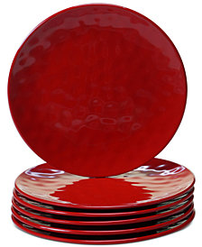 Certified International 6-Pc. Red Melamine Salad Plate Set