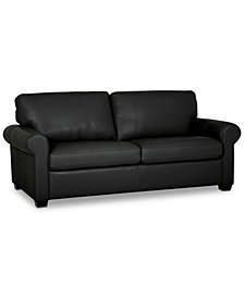 "Orid 79"" Leather Apartment Sofa, Created for Macy's"