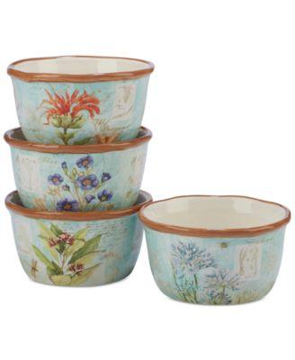 Herb Blossom Ice Cream Bowls, Set of 4
