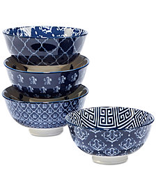 Certified International 4-Pc. Blue Indigo Ice Cream Bowls Set