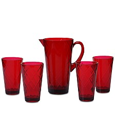 Certified International Ruby Diamond Acrylic 5-Pc. Drinkware Set