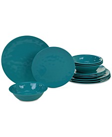 Teal Melamine 12-Pc. Dinnerware Set, Service for 4