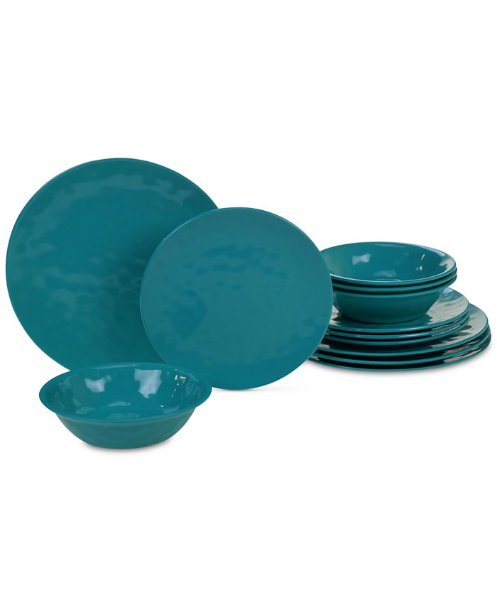 Certified International - Teal 12-Pc. Dinnerware Set, Service for 4
