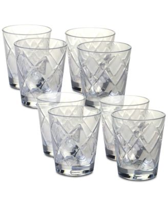 Clear Diamond Acrylic 8-Pc. Double Old Fashioned Glass Set