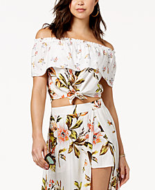 Love, Fire Juniors' Off-The-Shoulder Flounce Crop Top