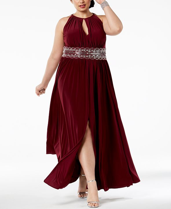 R & M Richards R&M Richards Plus Size Sleeveless Beaded Gown