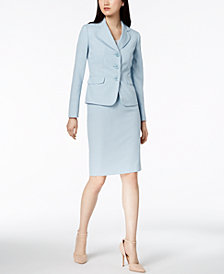 Le Suit Tweed Three-Button Skirt Suit, Regular & Petite