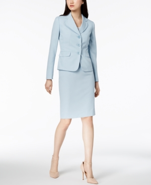 Le Suit Tweed Three-Button Skirt Suit, Regular & Petite