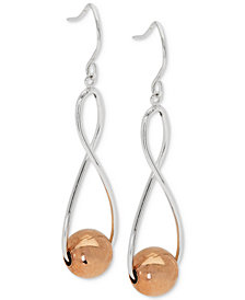 Giani Bernini Two-Tone Infinity Ball Drop Earrings in Sterling Silver & 18k Rose Gold-Plate, Created for Macy's