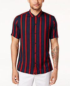 I.N.C. Men's Camp Collar Striped Shirt, Created for Macy's
