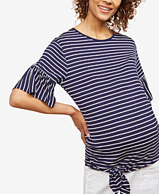 Motherhood Maternity Striped Bell-Sleeve Top