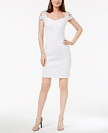 Calvin Klein Embellished Cold-Shoulder Sheath Dress