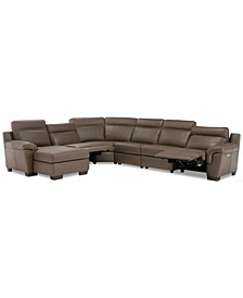 "Julius 150"" II 6-Pc. Leather Chaise Sectional Sofa With 2 Power Recliners, Power Headrests & USB Power Outlet, Created for Macy's"