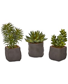 Nearly Natural Trio of Artificial Succulent Plants, Set of 3