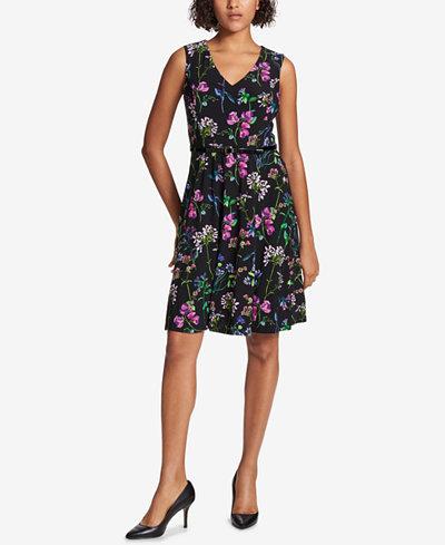 Tommy Hilfiger Belted Floral A-Line Dress