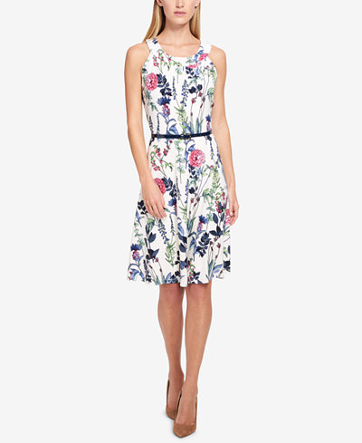 Tommy Hilfiger Belted Floral Fit & Flare Dress