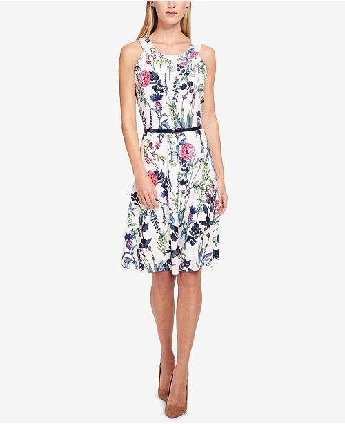 47154db2fc6808 Tommy Hilfiger Floral Printed Sleeveless A-Line Dress   Reviews ...