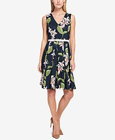 Tommy Hilfiger Floral-Printed Eyelet Fit & Flare Dress