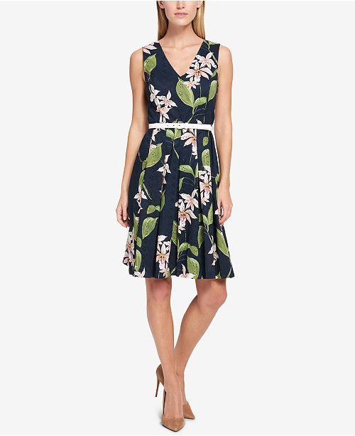 caa0145d0b34f Tommy Hilfiger Floral-Printed Eyelet Fit & Flare Dress & Reviews ...
